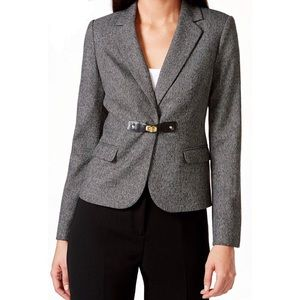 Calvin Klein faux leather trim buckle blazer